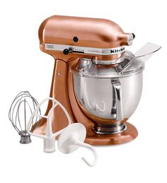 Custom Metallic 5 Quart KitchenAid Artisan Stand Mixer in Satin Copper Copper Kitchen Aid, Kitchen Aid Mixer, Kitchen Tools, Kitchen Gadgets, New Kitchen, Kitchen Decor, Kitchen Shop, Copper Kitchen Accents, Copper Accents