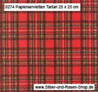 20 Papierservietten Schottenkaro rot 25 x 25 cm günstig kaufen