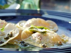 Lobster Ravioli Recipe : Guy Fieri : Food Network - FoodNetwork.com.  I will nix the sage and capers.