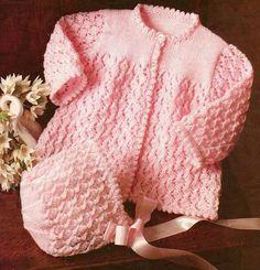 Stricken Baby :baby knitting pattern vintage matinee coat bonnet booties in double knit sizes , Baby Cardigan Knitting Pattern Free, Baby Knitting Patterns, Baby Patterns, Vintage Patterns, Motif Vintage, Knitting For Kids, Double Knitting, Knitting Yarn, Cardigan Bebe
