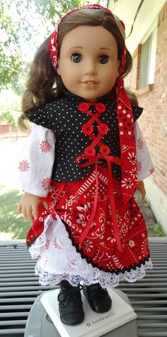 This outfit has been made to fit 18 dolls such as American Girl, Battat, Madame Alexander and more.   I CALL IT! This is a fun, colorful pirate / steampunk