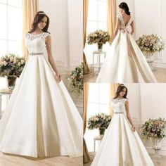 New Arrival Sheer Lace 2015 Wedding Dresses A-Line Satin Beads Sash Low Zip Back Ivory Spring Capped Bridal Gowns Ball Dress Wedding Style Online with $129.95/Piece on Hjklp88's Store | DHgate.com