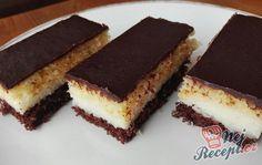 Dvoubarevný kokosový řez | NejRecept.cz Square Cakes, Tiramisu, Food And Drink, Treats, Ethnic Recipes, Sweet, Pastries, Drinks, Garden