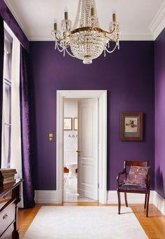 purple walls and white door
