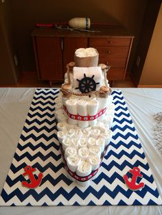 Boat diaper cake for nautical baby shower.