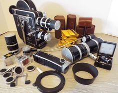 Paillard Bolex H16 Reflex 16mm film movie camera 6 lens viewers filters case + #PaillardBolexH16moviecamera