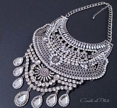 Bib necklace antique silver and rhinestones. by CaneladePlata