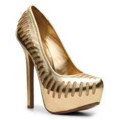 Anne Michelle Oscar Pump - Gold ($45) ❤ liked on Polyvore