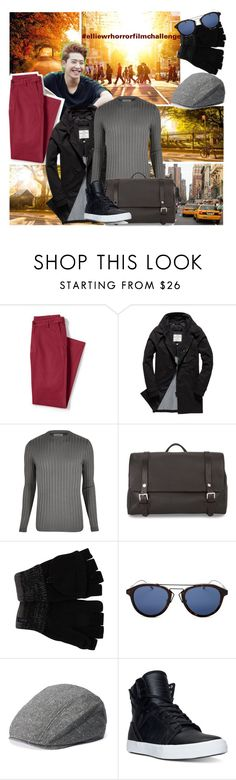 """Horror film setting. Set 2"" by ivyfanfic ❤ liked on Polyvore featuring Lands' End, Superdry, TAXI, River Island, Santoni, A. Kurtz, Christian Dior, Apt. 9, Supra and men's fashion"