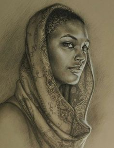 'Sea' by Sara Golish; Windsor, Ontario {african-american black woman face portrait drawing cropped} <3