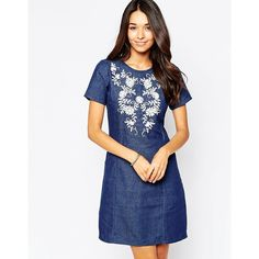 Yumi Embroidred Chambray Shift Dress (46 PAB) ❤ liked on Polyvore featuring dresses, chambray, round neck dress, white embroidered dress, yumi dress, front zipper dress and tall shift dress
