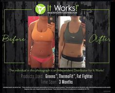 Reasons why I LOVE these products  results don't lie! I love seeing results like this  I just opened up TWO spots for anyone who wants to start their own 90 day challenge today! 520-840-8770 http://bodycontouringwrapsonline.com/weight-loss/it-works-triple-threat-weight-loss-challenge