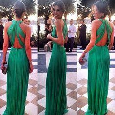 Green Plain Bandage Backless Bohemian Maxi Dress