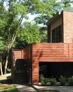 horizontal deck railing Exterior Contemporary with Asian bamboo brick concrete