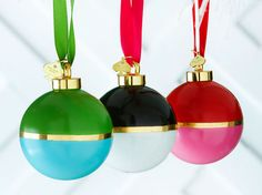 Obsessed with these color block ornaments by Kate Spade.