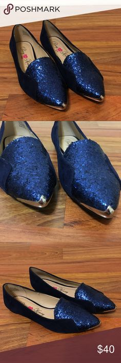 Penny Loves Kenny Blue Suede and Glitter Flats Ok this are to die for! Penny Lives Kenny Blue Suede with glitter flats. Silver toe accent. Excellent Condition. Worn Once! Penny Loves Kenny Shoes Flats & Loafers
