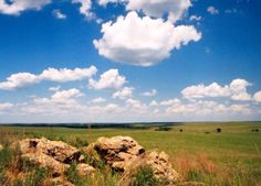Oklahoma -- I don't know where this photo was taken, but a lot of Roger Mills County looks like this.  I also love the blue, blue sky above the red, red dirt.  I probably wouldn't love it so much if I had to launder my family's clothes there.....
