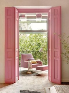 Create a sweet and colorful entry with a door in a pastel pink.