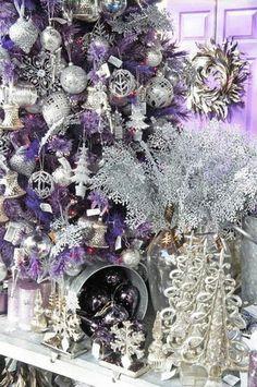 """Sassafrazz"" Tree w/ purple and silver / Thirty Fabulous Christmas Trees - Home Trends Magazine Purple Christmas Decorations, Purple Christmas Tree, Silver Christmas, Christmas Colors, All Things Christmas, Christmas Themes, Christmas Holidays, Merry Christmas, Coastal Christmas"