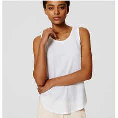 LOFT Vintage Soft Tank ($20) ❤ liked on Polyvore featuring tops, white, sleeveless tank tops, white tank, sleeveless tank, cotton tank top and white sleeveless tank top