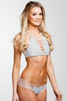 High Neck Bikini top in pinstripes