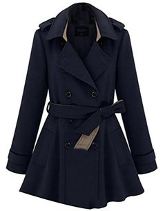 Gocgt Women's Long Sleeve Double-Breasted Trench Coat 1 L