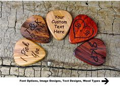 Customize a guitar pick for the guitar player in your life shop: ONE Custom Engraved Wooden Guitar Pick -(Choose Wood Type and Design) - Wood Guitar Pick - Guitar Pick - Custom Guitar Pick - LASER ENGRAVED Guitar Picks Personalized, Custom Guitar Picks, Custom Engraving, Laser Engraving, Engraving Ideas, Pattern Pictures, Text Design, Etsy App, Inspirational Gifts