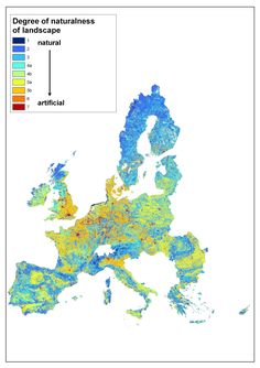 Degree of hemeroby (naturalness) of the overall landscape in EU 27 countries, 1996-2005