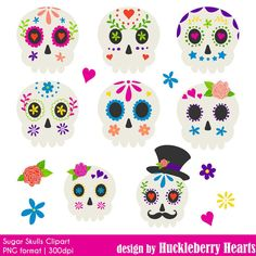80% OFF SALE Sugar Skulls Halloween Clipart by HuckleberryHearts