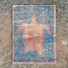 """Good example of the idea to reverse the string art utilizing the negative space of your design. Sea turtle nail and string art - 18"""" x 24"""" wall decor. Only $35!"""
