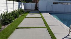 new stepping stones with artificial turf