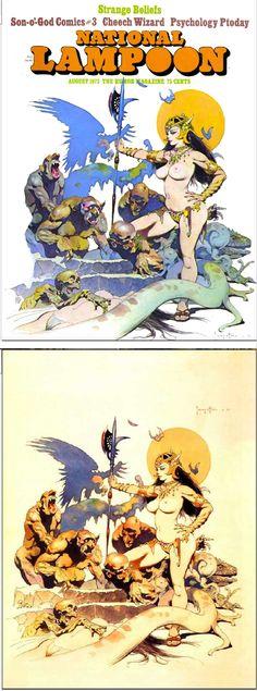 FRANK FRAZETTA - Aug 1973 National Lampoon - print/cover by ripjaggerdojo.blogspot.com