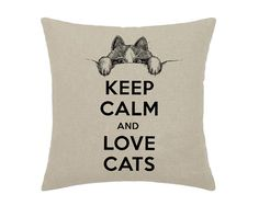 Keep Calm and Love Cats Pink Kitten Cat Kitty Looking Out Art Print - print on natural 100% linen canvas - 16x16 decorative pillow cover on Etsy, $30.00