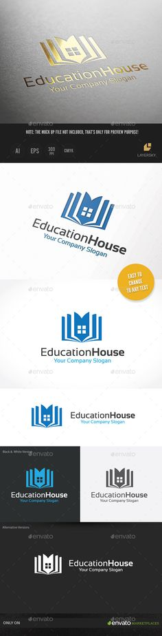 Education House Logo Design Template Vector #logotype Download it here:  http://graphicriver.net/item/education-house/10131914?s_rank=1585?ref=nexion