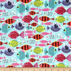 Michael Miller Novelties School's Out Turquoise from @fabricdotcom  This cotton print designed by Michael Miller features a variety of colorful fish, perfect for quilting, apparel and home decor accents. Colors include pink, purple, kellly green and sky blue.