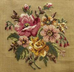 """Antique 27"""" Vtg PREWORKED Needlepoint Canvas Shabby Gold Pink Rsoes Bouquet 