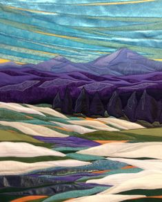 Snow and Light, 26 x framed, Lubbesmeyer fiber art & landscape art quilt The post Snow and Light, 26 x framed, Lubbesmeyer fiber art Patchwork Quilting, Applique Quilts, Landscape Art Quilts, Landscape Paintings, Landscape Edging, Art Textile, Textiles, Fabric Art, Quilting Projects