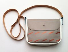 Shoulder Bag 05 // grey, white and petrol leather with copper pattern