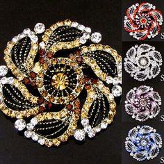 ADD'L Item FREE SHIPPING 1 pc Austrian rhinestone crystal flower brooch pin