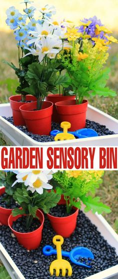 This Gardening Inspired Sensory Bin is the perfect kids activity for engaging busy little gardeners this summer. Let your kids plant a garden with a little imaginative play. Our Finding Dory sensory bin was such a hit with the girls that I decided to buil Sensory Tubs, Sensory Boxes, Sensory Diet, Fall Sensory Bin, Preschool Garden, Preschool Activities, Garden Kids, Preschool Projects, Summer Garden
