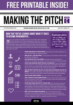 Tips for pitching reporters and media. Free printable! Also included: Five Tips for Becoming Newsworthy! Public Relations Tips
