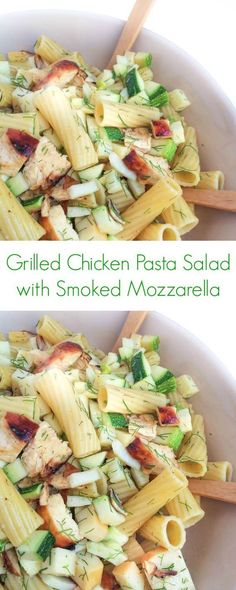 This flavor-packed pasta salad is loaded with tender grilled chicken, crunchy vegetables and smoked mozzarella. Smoked Mozzarella Recipe, Mozzarella Pasta, Grilled Chicken Pasta, Grilled Chicken Tenders, Chicken Salad, Pasta Recipes, Chicken Recipes, Cooking Recipes, Salad Recipes