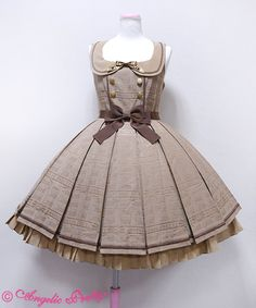 Angelic Pretty's Melty Ribbon Chocolate Collar JSK in Mocha - This dress has good reviews. The bows are detachable. The collar is not though. It's very adorable. Would go good with the barrette that matches and a pair of knee high socks.
