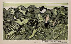 "zombienormal: "" The Waves. Lovely Illustration by H. Eichrodt, Jugend magazine, Via "" Art Nouveau, Art Deco, Magazine Illustration, Victorian Art, Ex Libris, Conte, Vintage Photographs, My Images, Surrealism"