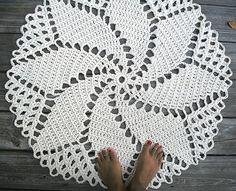 Crochet Rug in Ecru Off White Cotton 33 Spiral by byCamilleDesigns