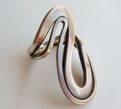 Vintage 50s Mid Century Modernist Sterling Silver Studio Jewelry Ring size 6 1/2. $72.00, via Etsy.