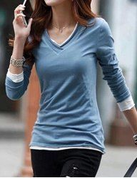 Casual V-Neck Long Sleeve Solid Color T-Shirt For Women