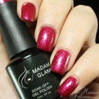 'Glittery Berry' Soak Off Gel Nail Polish by Madam Glam Nails by www.manictalons.com Visit us on www.madamglam.com