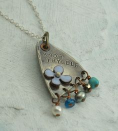 Know Thyself Necklace  - made from a vintage spoon with enamel and beads :)