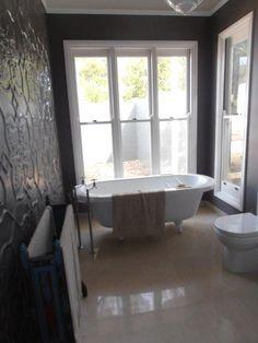 Pressed Metal Wall Cladding, Bathtub, Vintage Lighting With… Upstairs Bathrooms, Laundry In Bathroom, Dream Bathrooms, Beautiful Bathrooms, Modern Bathrooms, Bathroom Inspiration, Home Decor Inspiration, Bathroom Ideas, Bath Ideas